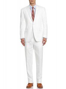 white linen suit for beach wedding