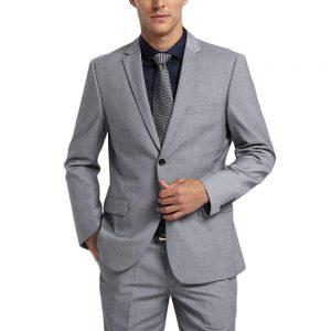 grey suit beach wedding