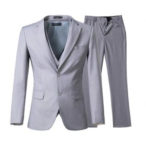 grey suit beach wedding